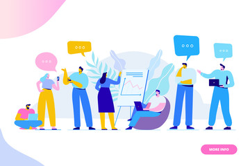 Wall Mural - Brainstorming creative team idea discussion people. Teamwork staff around table laptop. Team thinking and brainstorming.  Analytics of company information. Flat vector illustration