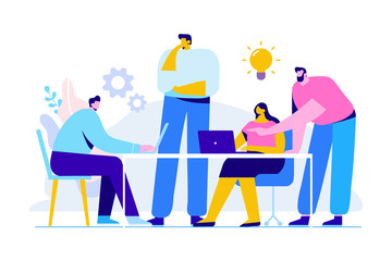 Wall Mural - Team thinking and brainstorming. Training of office staff. Increase sales and skills. Analytics of company information.Flat vector illustration