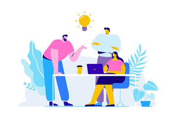 Team thinking and brainstorming. Training of office staff. Increase sales and skills. Analytics of company information.Flat vector illustration
