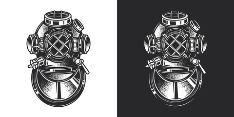 Monochrome vector illustration of a diving helmet in vintage style