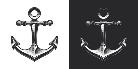 Monochrome anchor in vintage style. Original vector illustration