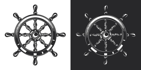 Monochrome vector illustration of a ship steering wheel in vintage style