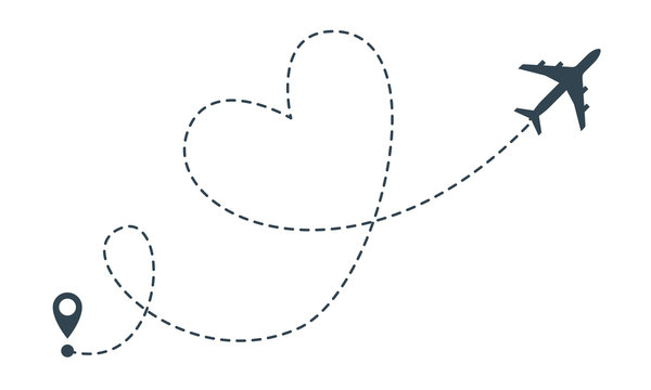 Heart airplane route. Vector airplane heart flight from location pin, travel and delivery icon