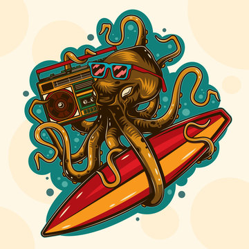 Original vector illustration in vintage octopus style with glasses with surfing and Boombox