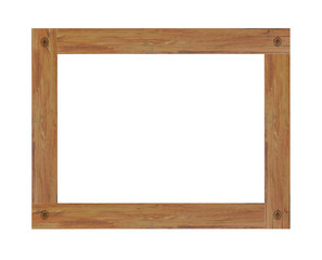 Old wooden picture frame isolated on white background. with clipping path.