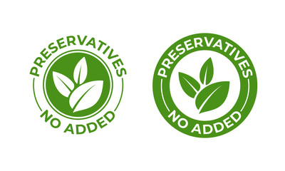 Preservatives no added vector green organic leaf icon. Preservatives free, natural organic food package stamp Wall mural