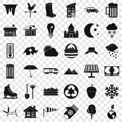 Country life icons set. Simple style of 36 country life vector icons for web for any design