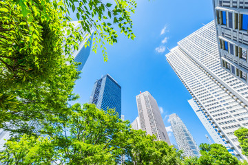 Fototapete - Asia Business concept for real estate, corporate construction and ecology - looking up view of panoramic modern city skyline with blue sky and green tree in shinjuku, tokyo, japan