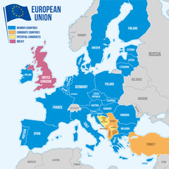 Map of the European Union in english language