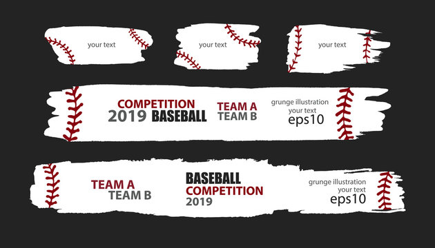 Vector grunge baseball. Templates sporty design. Print for T-shirt, flyer, horizontal abstract banner, brush strip..