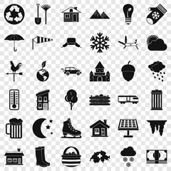 Nature house icons set. Simple style of 36 nature house vector icons for web for any design