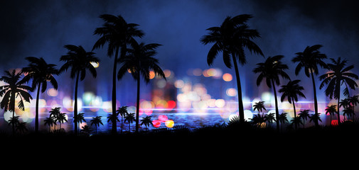 Foto auf AluDibond Palms Night landscape with stars, sunset, stars. Silhouette coconut palm trees Vintage tone. Lights of the night city, neon, coast.