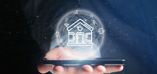 Businessman holding Smart home interface with icon, stats and data 3d rendering