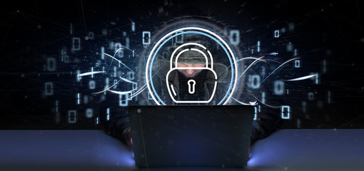 Hacker man holding Security padlock wheel icon with stats and binary code 3d rendering