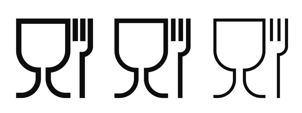Food grade vector icons set. Food safe material wine glass and fork symbols