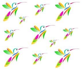 Vector hummingbirds seamless texture, illustration.