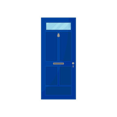 Blue door with glass on white background.