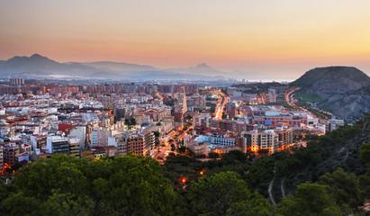Spain - Alicante is Mediterranean City, skyline at night