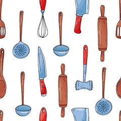 Color seamless vector pattern of elements with hand drawn kitchen tools on a white background.
