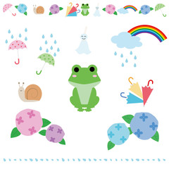 illustration set of images of the rainy season.