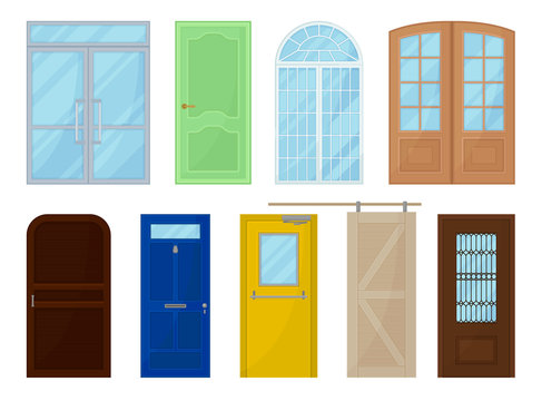Colored doors on white background. Vector illustration.