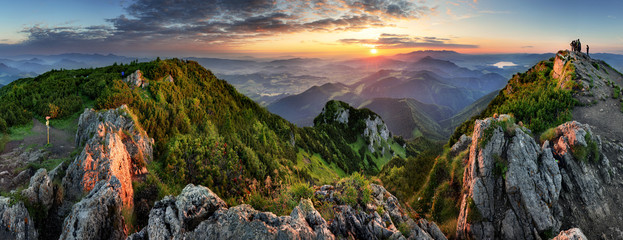 Foto auf Acrylglas Landschaft Mountain valley during sunrise. Natural summer landscape in Slovakia