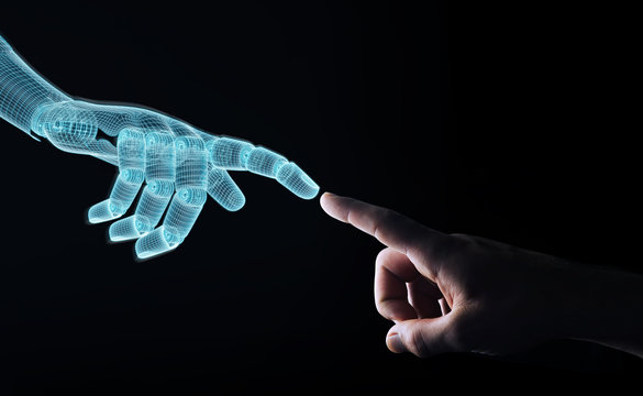 Wireframed Robot hand making contact with human hand on dark 3D rendering