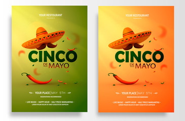 Cinco De Mayo poster design. Marketing, advertising or invitation template with copy space for your holiday celebration at a bar, restaurant, nightclub or other venue. Vector illustration Wall mural