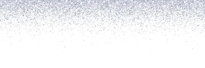 Wide silver falling glitter on white background. Vector