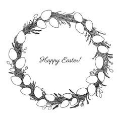 Hand drawn vintage of Happy Easter wreath, round frame with festive eggs, flowers and plants vector ink sketch illustration isolated on white, background line art style for design greeting card