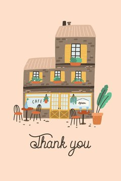 Card, postcard or poster template with coffee house or cafe building on street of European city and Thank You word or phrase written with cursive font