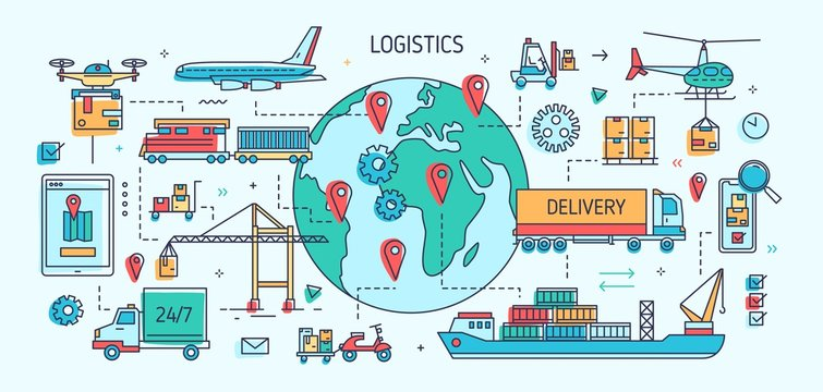 Banner template with freight vehicles and vessels carrying goods. Cargo transportation, international trade and delivery, worldwide shipment. Colorful vector illustration in modern line art style.