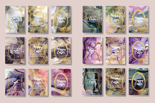 happy easter. the big set of liquid marble with gold. flyer, business card, flyer, brochure, poster, for printing. trend vector