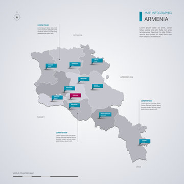 Armenia vector map with infographic elements, pointer marks.