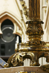 A heavy golden cadleabra base from the Zagreb cathedral
