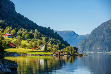 Foto op Aluminium Noord Europa Beautiful Nature Norway natural landscape with fjord and mountain.