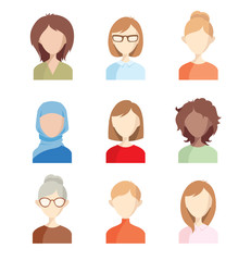 Avatars - girls. Set of vector illustrations of women faces.