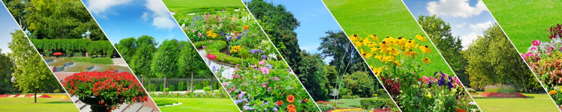 Spring gardens with beautiful flowers and lawns. Panoramic collage. Wide photo.