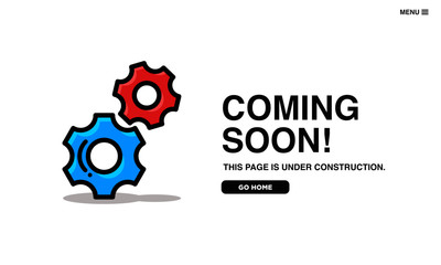 Coming Soon Page Interface Design with Gear Illustration