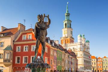 Apollo fountain on the Main Square in Poznan, Poland.