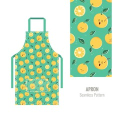 Kitchen apron with cute orange pattern. Vector illustration - fototapety na wymiar