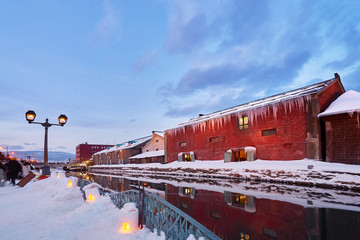 Beautiful landscape scenic of Otaru canal in sunset time on winter at Otaru city, Hokkaido, Japan.