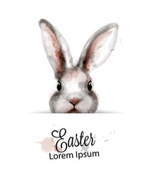 Easter Bunny rabbit Vector watercolor. Cute spring card. Easter holiday greetings