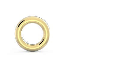 Gold Circle isolated on white background 3DCG rendering