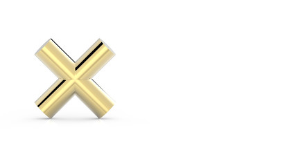 Gold cross isolated on white background 3DCG rendering