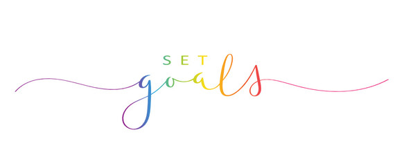 Door stickers Wall Decor With Your Own Photos SET GOALS brush calligraphy banner