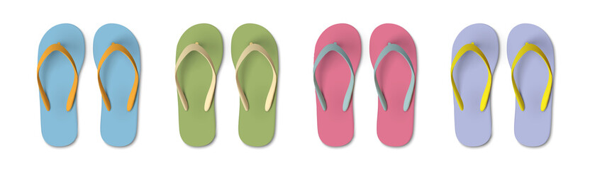 Set of colored Flip flops - summer, beach slippers