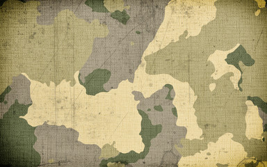 Dirty camouflage fabric texture for background