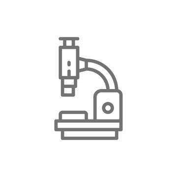 Microscope, medical equipment, lab research line icon.