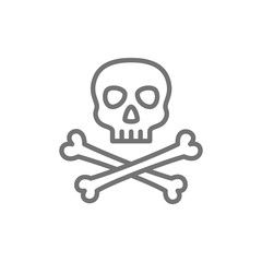 Pirate skull with crossbones line icon.